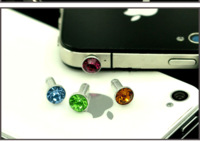 For iphone  4 dust plug 4s mobile phone dust plug 3.5mm diamond earphones hole bling colorful