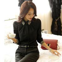 Free shipping 2014 Fashion Female Chiffon Shirts women's slim Blouse long-sleeve Turn down Collar Black and White colors 4 Sizes