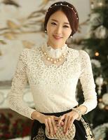 Free shipping NEW Fashion korean spring lace Shirts Lotus leaf ruffles Collar blouses for women elegant  Base shirt Lady's Coats