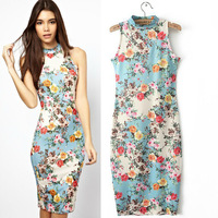 2014 New Spring Summer Women Round Neck Sleeveless Floral Dress Lady Slim Package Hip Stretch Sexy Dress
