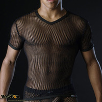 Big mesh manview male sexy t-shirt male mesh short-sleeve msw1