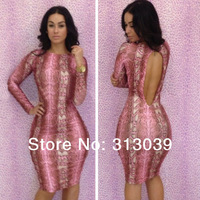 Lady Women summer Snakeskin print backless Bodycon Dress night Club Dresses Free Shipping I7143