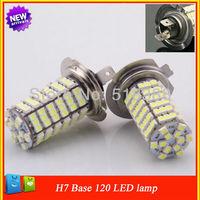 2pcs  6500K 12v led white bulb  H7 120LED 3528 SMD Auto accessories car fog light car led parking light  External car headlight