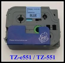 New 2014 p touch tape tz-551, tz551,black on white tape 24mm TZ 551 compatible TZ tape