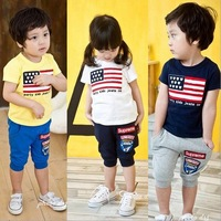 2014 summer girls boys national flag children clothing set baby sport clothes short-sleeve T-shirt pants kids suit drop Shipping