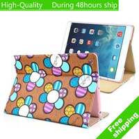 High Quality Sunflower Pattern Sleep Wake Leather flip Case Cover with for iPad Air iPad 5 Free Shipping DHL CPAM HKPAM CVR-6