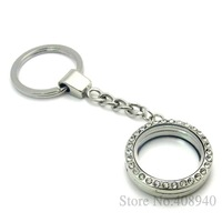 5PCS !! 30mm Silver Round magnetic glass glass locket keychains floating charm locket Zinc Alloy+Rhinestone Free shipping