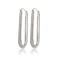6PCS Wholesale Earring White Gold Plated Big Hoop Earrings For Women Earings Fashion 2014 Free Shipping 23EW-66