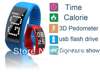 2014 New  Creative 3D pedometer sport usb drive 1GB-32GB LED wrist usb flash disk/usb pen smart watch calorie monitoring