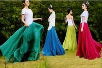 NEW 2014 10-color bust skirt fashion full skirt mopping the floor spring and summer women's chiffon skirt bohemia girl's skirt