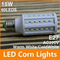 15W corn led bulb light 60leds SMD 5630 led lamp AC110 AC220V energy saving ROHS CE indoor led light Free shipping