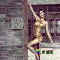 Small gold vintage slim strapless cheongsam gorgeous cheongsam