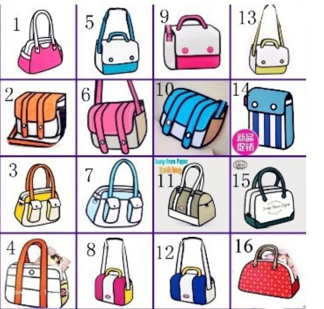 [16styles] 2014 NEW cheapest 3D cartoons canvas one shoulder handbag camera top bag general bags(China (Mainland))