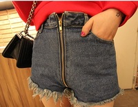 2014 new spring fashion zipper denim shorts, frayed, fringed blue high waist shorts women S-XL,jeans shorts