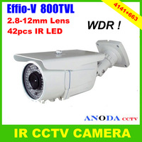 Super WDR!!! 800TVL Sony 960H CCD Effio-V CXD4141GGG With 2.8-12mm Varifocal Lens OSD Menu Outdoor Weatherproof CCTV Camera