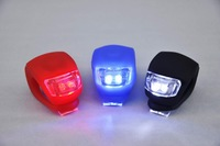 3 PCS Silicone Bicycle Front LED Flash Warning light Red Blue White + Free shipping