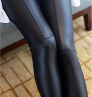 Promotion!!!  Women Pants Faux Leather Trousers Black Slim Pencil Pants Skinny Leggings Soft Yoga Pants Women Patchwork Trousers