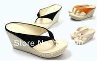 New 2014 summer shoes fashion platform flip flops high heels wedges sandals for women black orange beige size 35-39