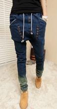 Harem pants male jeans pants strap gradient pumping skinny pants(China (Mainland))