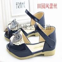 2013 summer child girls shoes lace princess shoes open toe shoe cow muscle outsole sandals