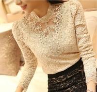Free shipping 2014 Spring Women Crochet Blouse Lace Chiffon Shirt Women Clothing Basic Shirts Vintage Blusas Femininas Blouses