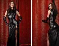 New Fashion Women's Black thin patent leather dress clothes bar girl pole dancing night club dance dress