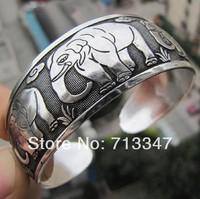 Hot Vintage Elephants Tibetan silver Women Men Open Adjustable Bracelet Bangle