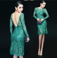 sexy big racerback of perspectivity long-sleeve fish tail lace dress Fashion women's new arrival