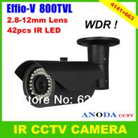 800TVL Sony 960H CCD Effio-V CXD4141GGG With 2.8-12mm Varifocal Lens OSD Menu Outdoor Weatherproof CCTV Camera
