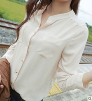 2014 Fashion Tops Women's Casual Beige Stand Collar Chiffon Plus Size Blouse Fashion Shirts(S,M,L),Free Shipping