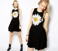 2014 New Arrival Spring Summer Women Fashion Casual Black Cotton Dress Cheap Daisy Flower Print  Free Shipping #143