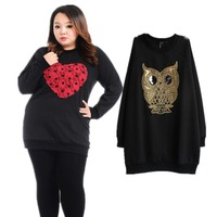 Sequin Owl Designer Women Pullovers Plus Size Sweater Big Size Female Tops Fat Inner Fleece Shirts Sleeve Thick Fashion spring