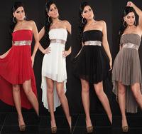 New Fashion 2014 Women's Sexy Backless Ladies Chiffon Irregular Dress, Strapless Club wear-A0409