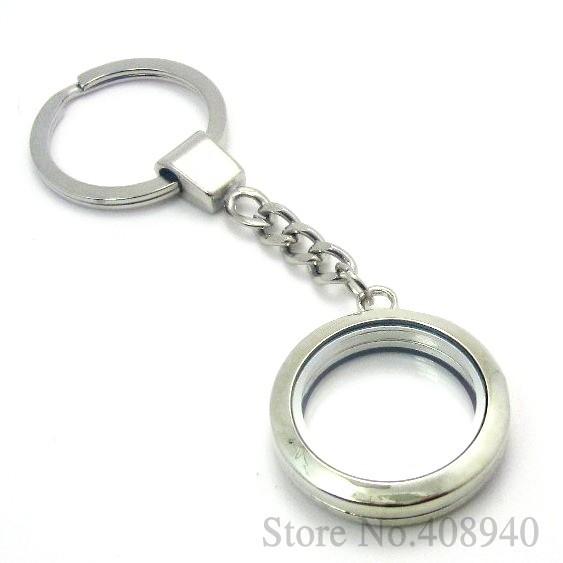 5 pezzi!! 30mm argento rotondo magnetico vetro ciondolo portachiavi in lega di zinco fascino medaglione galleggiante spedizione gratuita