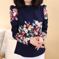 2014 Women's Spring Fashion Vintage Puff Sleeve Printing Flower Chiffon Tops Loose T-shirts(M,L),Free Shipping