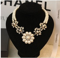 2pcs/lot Free shipping 2014 new design Korean Fashion beads Flower  Necklace branches short Necklace,fashion jewellery