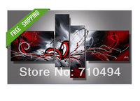 4pcs revolutionary blood handpainted abstract oil painting sets, canvas decoration wall painting, free shipping