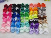 32colors 3inch grosgrain ribbon hair bows WITH Clip,baby hairbow,Boutique bow for Children hair accessories,32pcs/lot