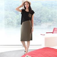 2014 summer maternity clothing maternity dress korea twinset dress for pregnant women lycra comfortable dress