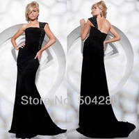 Free Shipping One shoulder Black evening gown satin with crystals Floor length Sheath long Special Occasion Evening Dresses