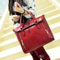 Black Retro Women Office Lady PU Quilted Shoulder Tote Bag Hobo Handbag Fashion