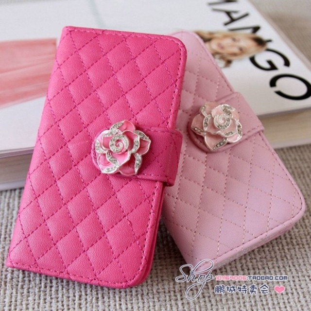 Rhinestone diamond case For samsung galaxy s3 s4 mini camellia i9190 wallet fashion protection holster leather cell phone case(China (Mainland))