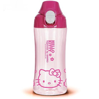 Free shipping 10 pcs/lot Wholesale children's travel water bottle Space cup Plastic water bottle Hello kitty travel flask 400ml