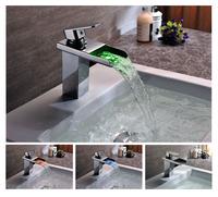 LED Light Color Change Temperature Sensor Waterfall Bathroom Faucet Handles Basin Mixer Water Tap Torneira Banheiro