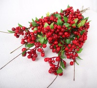 High quality Artificial Flower Simulation Abrin berry Red Beans silk Fruit Home Wedding Decorations 80cm/31.49in