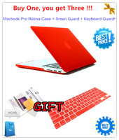 "For Macbook Retina13""Retina 15""Case,Rubberized Frosted Matte Case+Screen Protect Film+Silicon Keyboard Guard Cover 2 Free Gift"