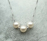 wholesale 3pcs white 9-10mm round genuine freshwater pearl necklace pendant 117