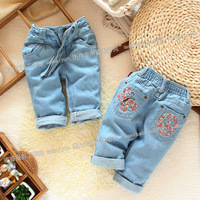 new  spring and autumn small girls jeans trousers female children pants pencil pants