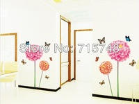 [Listed in stock ] -  1Set 2014 New Fashion Big Flower and Butterfly Wall Stickers& DIY Home Decor Wall Vinyl Size 50*70