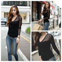 New Spring 2014 Women Sexy Slim Lace Patchwork Blace Chiffon Shirt Long-sleeve V-Neck Casual T-shirts Camiseta Chemisiter Tees